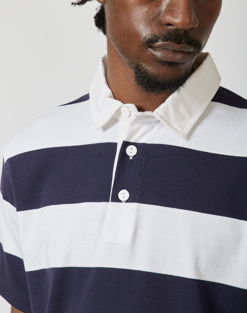 Armor Lux - Heritage Short Sleeve Rugby Polo White & Navy