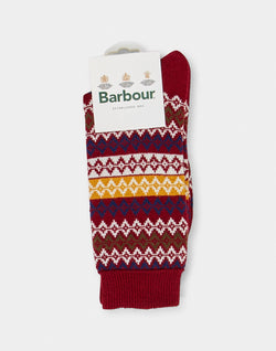 Barbour - Duxbury Fairisle Sock Red
