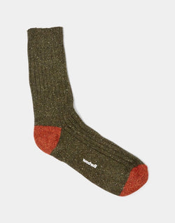 Barbour - Houghton Sock Olive & Burnt Orange