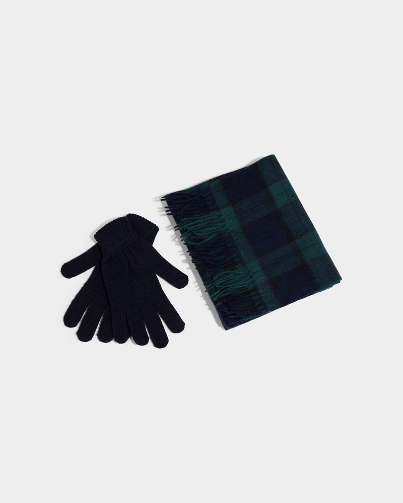 Barbour - Scarf And Glove Gift Set Black Tartan