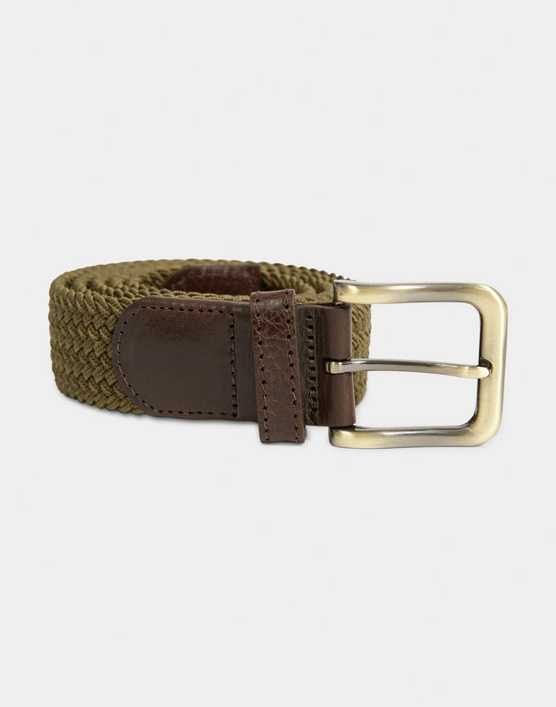 The Idle Man - Elasticated Weave Belt Khaki