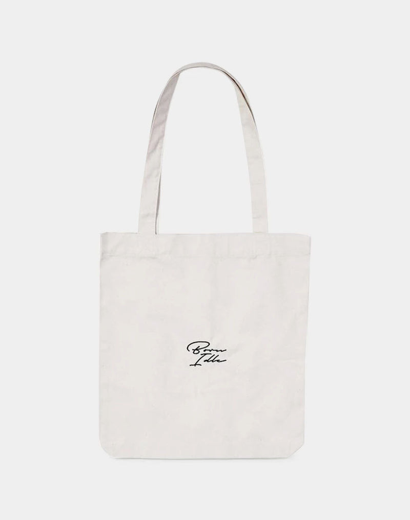 The Idle Man - Born Idle Signature Tote Bag Ecru