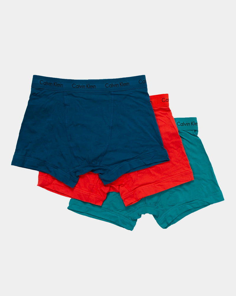 Calvin Klein Underwear Trunk 3 Pack Blue, Red & Turquiose