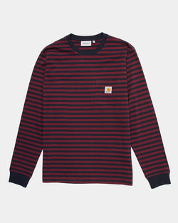 Carhartt WIP Haldon Pocket Long Sleeve T Shirt Dark Navy & Purple Stripes