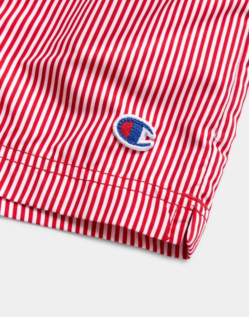 Champion - Swim Shorts Stripe White & Red