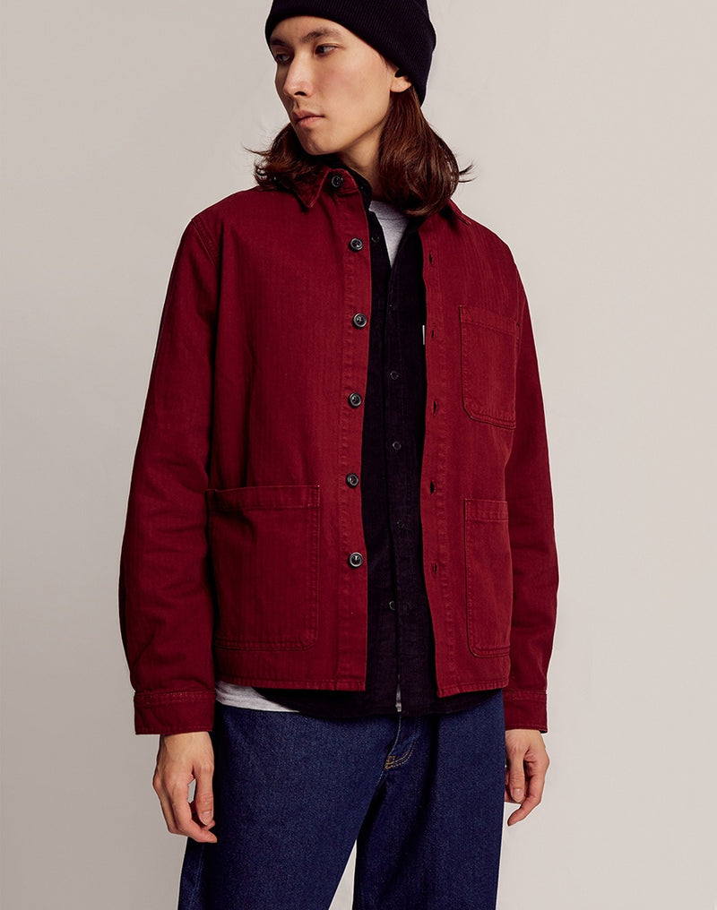 The Idle Man - Chore Jacket Burgundy