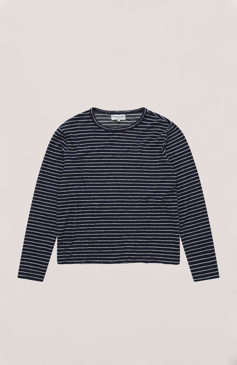 YMC - Stripe X Slub Cotton Sweatshirt Navy & Cream