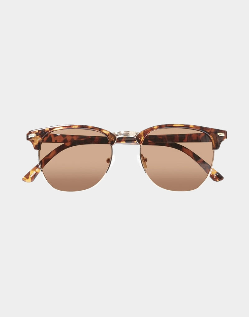 The Idle Man - Polarised Tortoise Shell Clubmaster Sunglasses Black