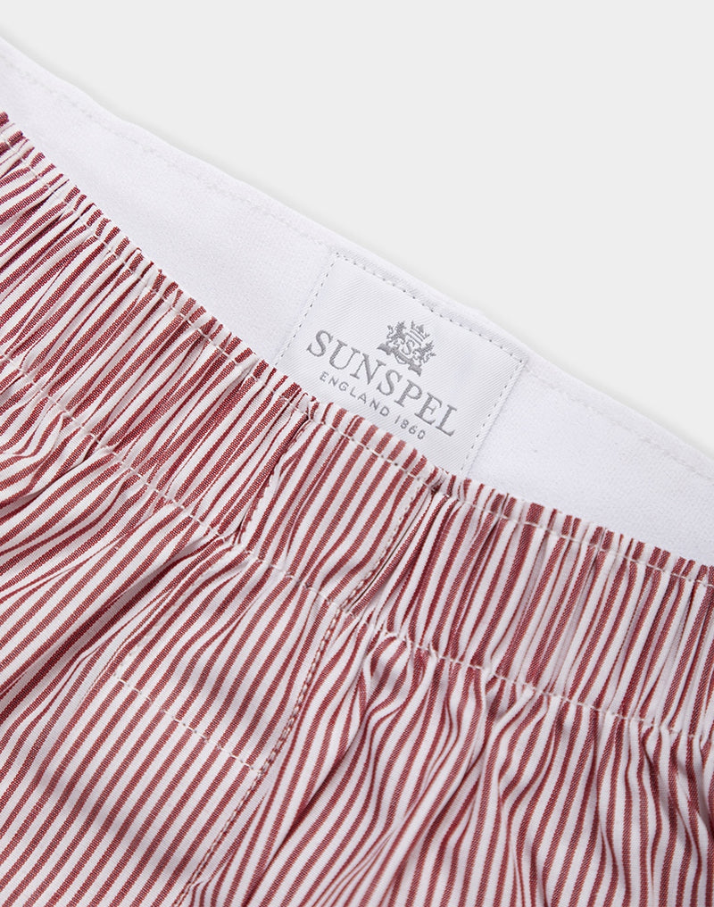 Sunspel - Classic Pinstriped Boxer Shorts White, Red & Navy