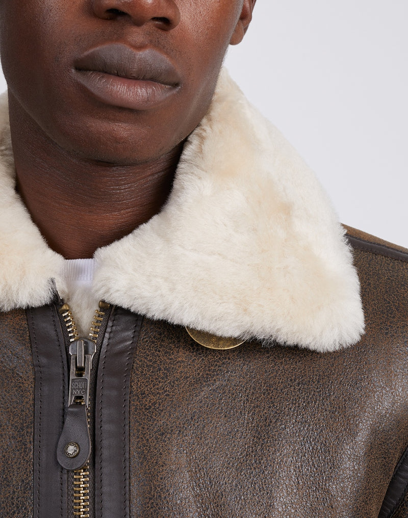 Schott NYC - LC1259 Bombardier Shearling Jacket Brown
