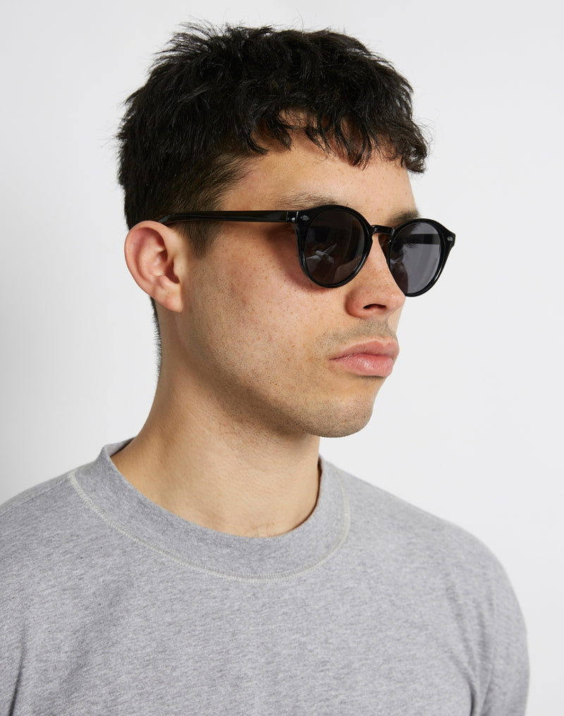 The Idle Man - Round Lens Keyhole Sunglasses Black