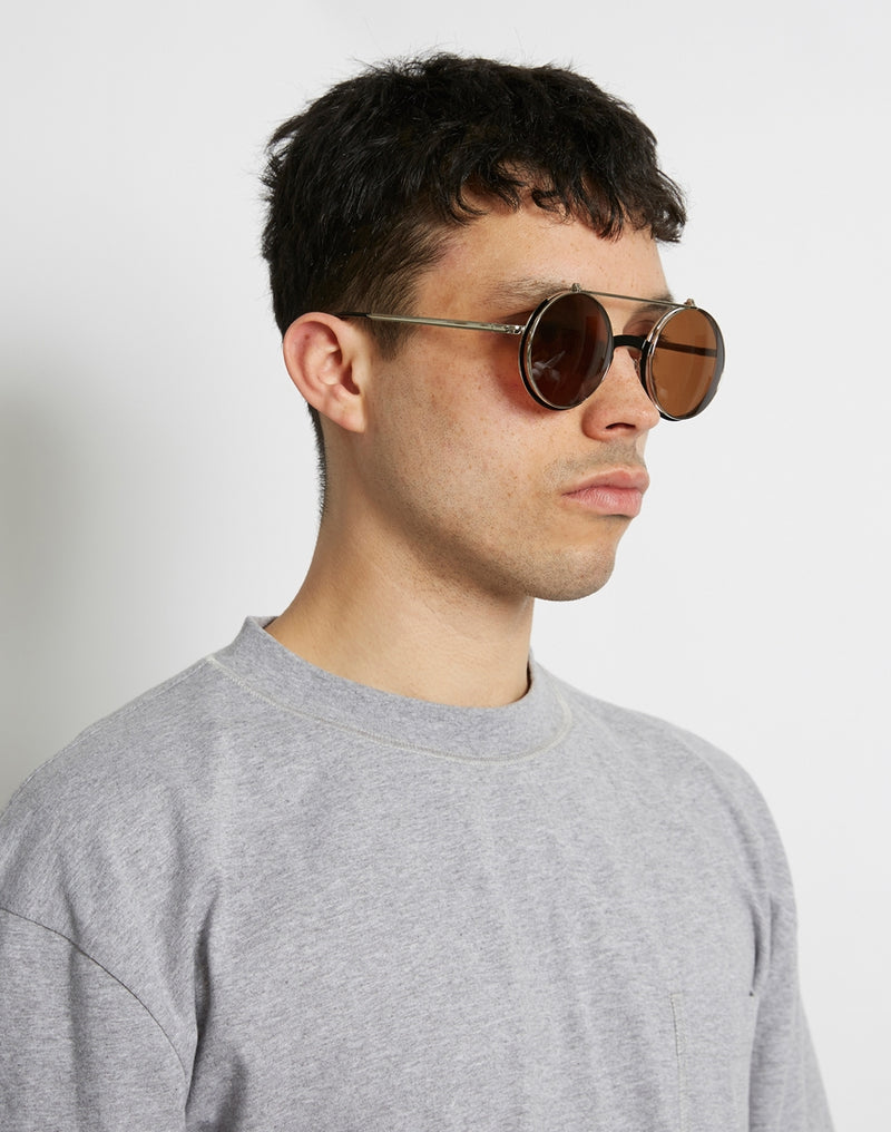 The Idle Man - Round Flip Up Lens Sunglasses Black