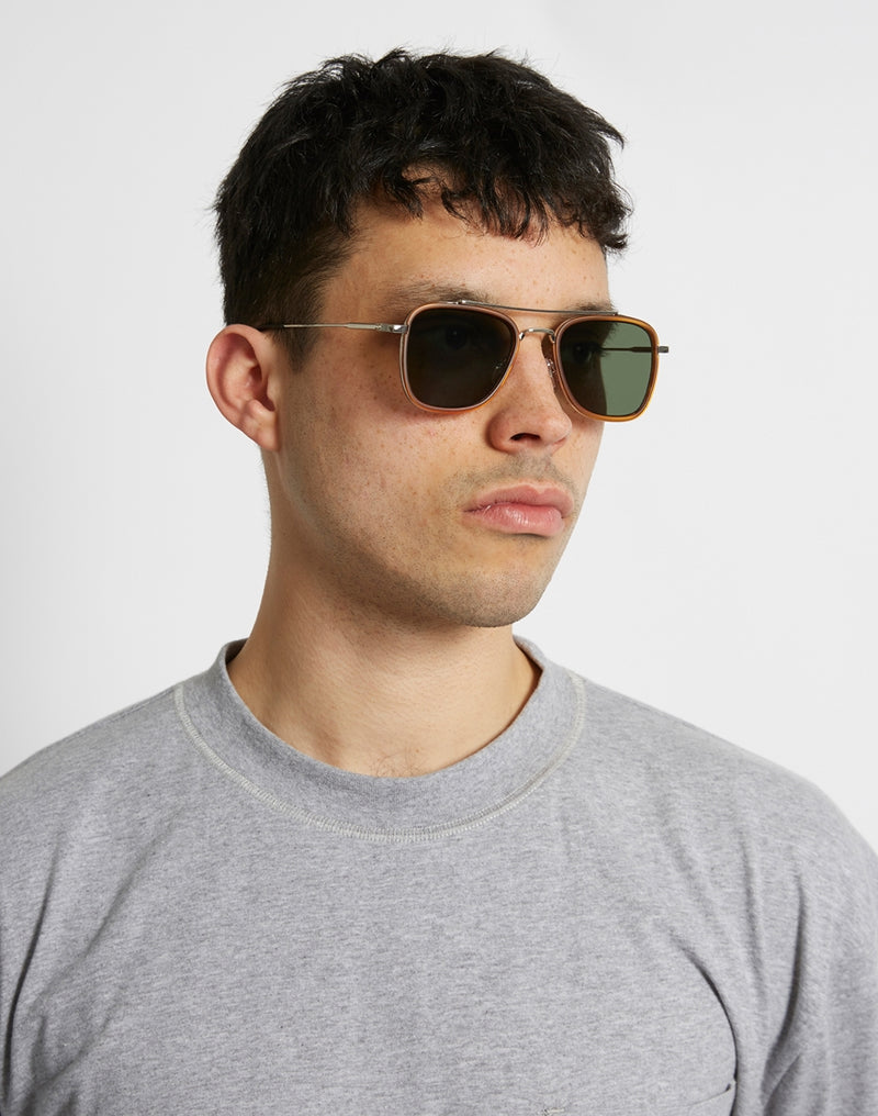 The Idle Man - Brow Bar Square Aviator Sunglasses Brown