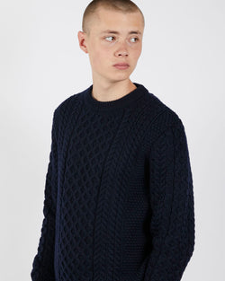 Sunspel - Long Sleeve Cable Crew Neck Sweater Navy