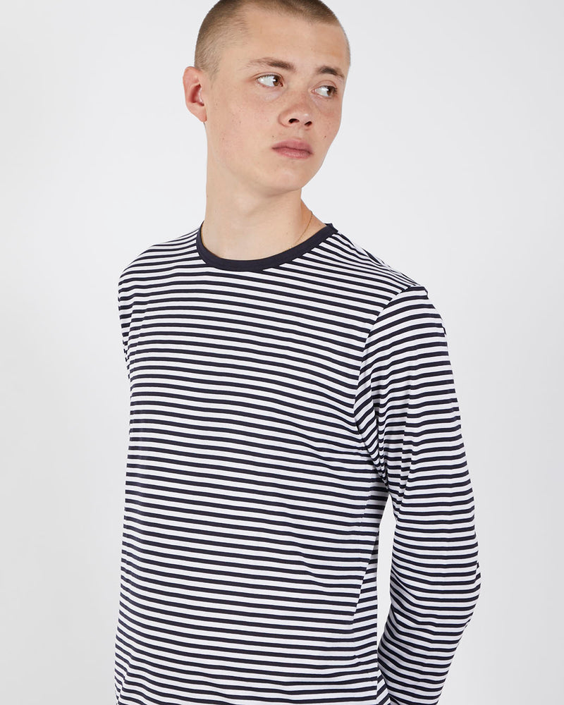 Sunspel - Q82 Long Sleeve Crew Neck T-Shirt English Stripes White & Navy