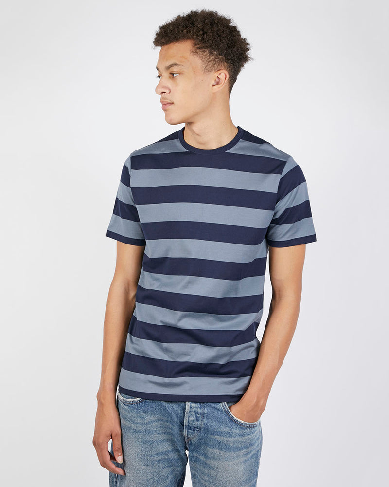 Sunspel - Short Sleeve Classic Striped Crew Neck T-Shirt Navy & Blue