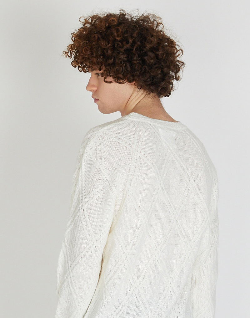 The Idle Man - Diamond Cable Knit Jumper White