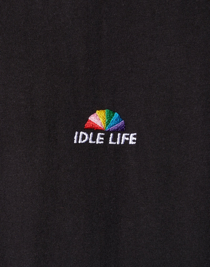 The Idle Man - Idle Life Embroidered T-Shirt Black