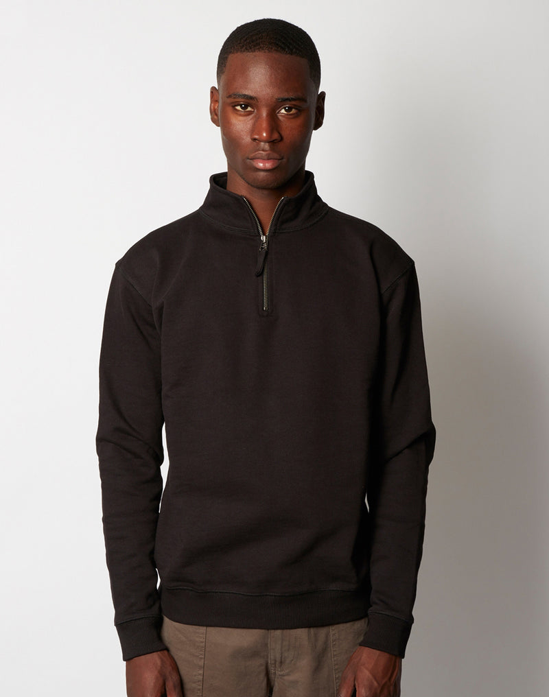 The Idle Man - 1/4 Zip Sweatshirt Black