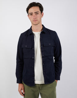 The Idle Man - Button Overshirt Navy