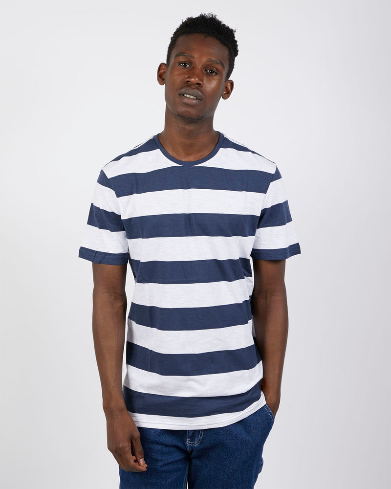 The Idle Man - Thick Stripe T-Shirt Navy