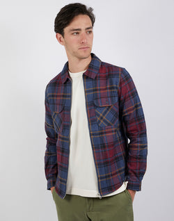 The Idle Man - Brushed Check Zip Overshirt Herringbone