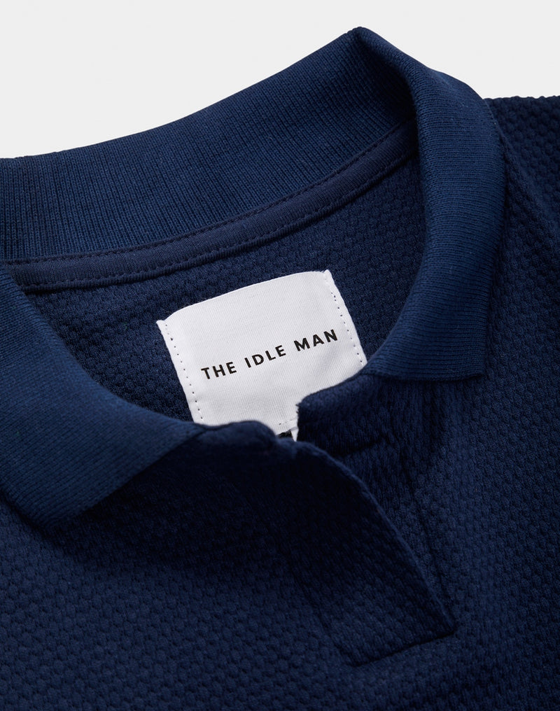 The Idle Man - Bubble Texture Polo Shirt Navy