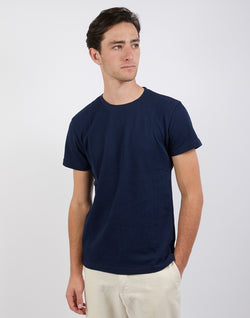 The Idle Man - Bubble Texture T-Shirt Navy