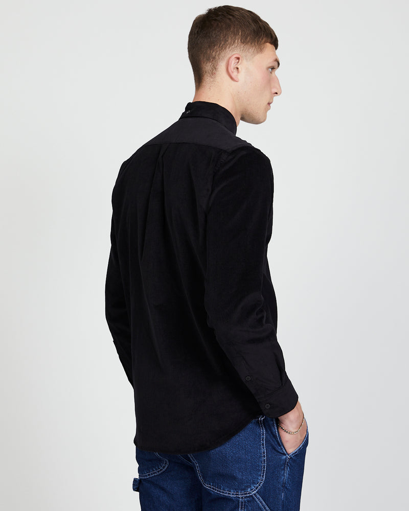 The Idle Man - Button Down Cord Shirt Black