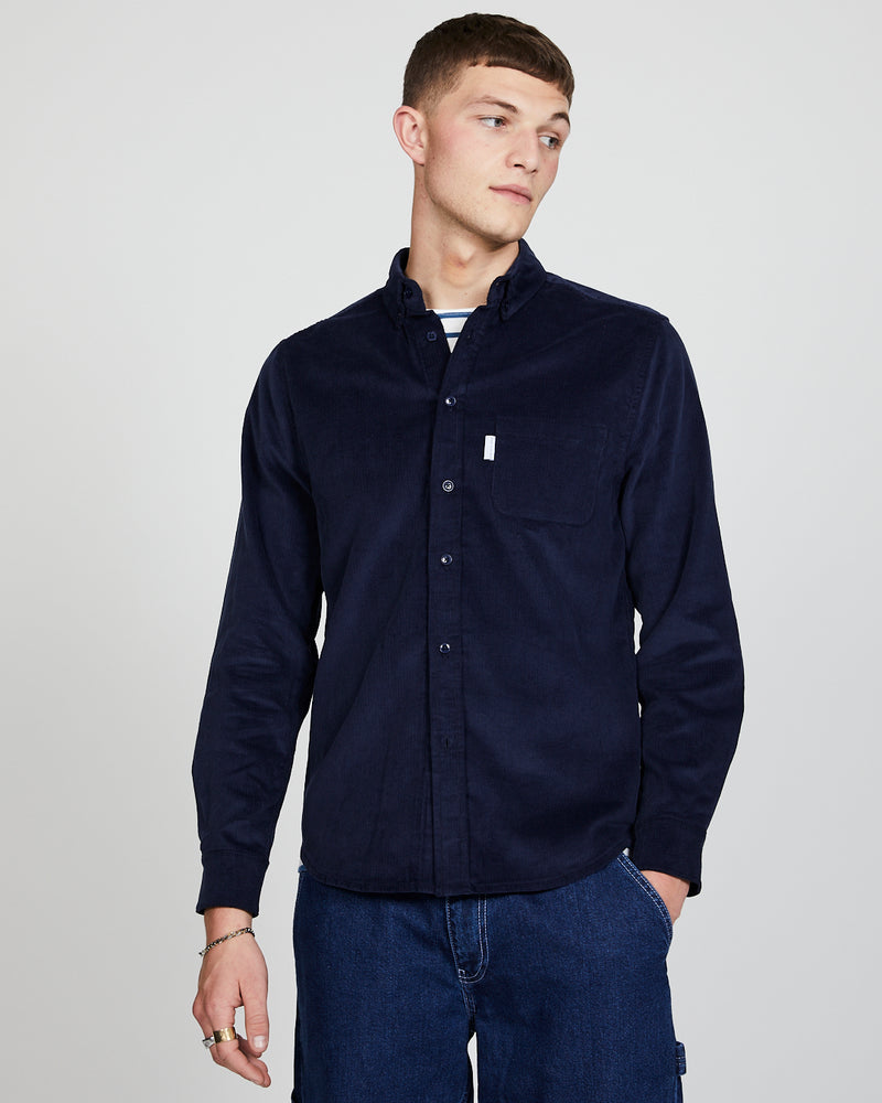 The Idle Man - Button Down Cord Shirt Navy