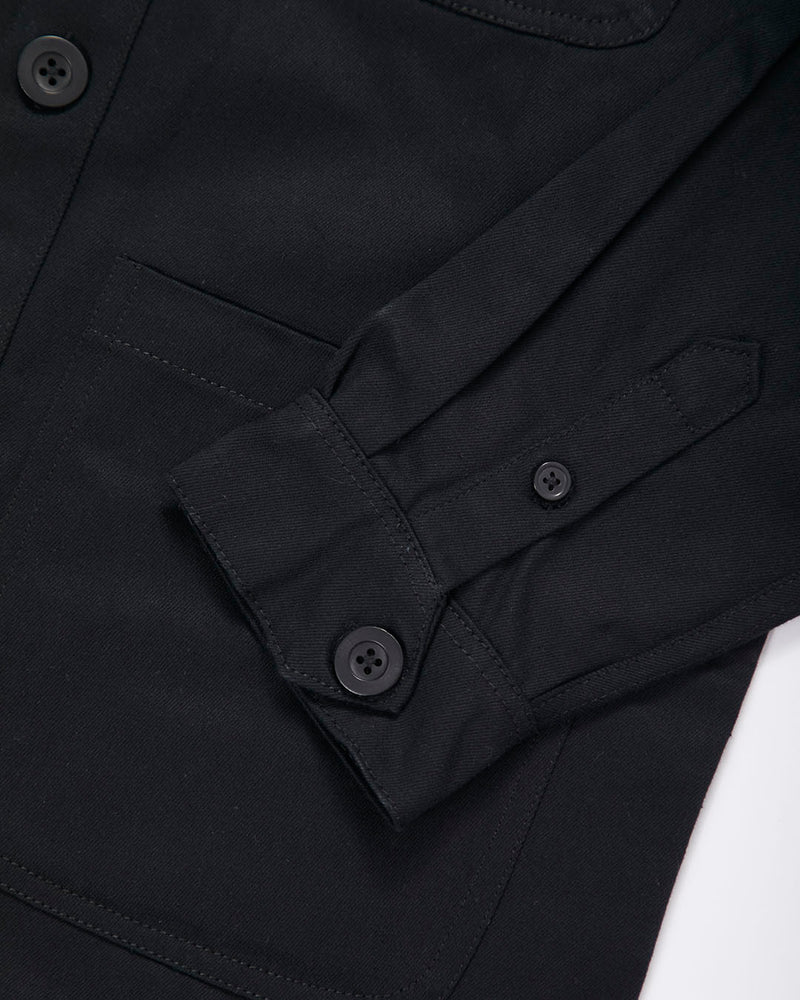 The Idle Man - Button Overshirt Black