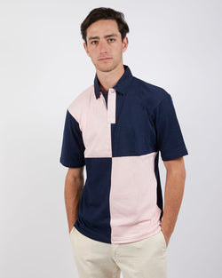 The Idle Man - Colour Block Rugby Polo Navy