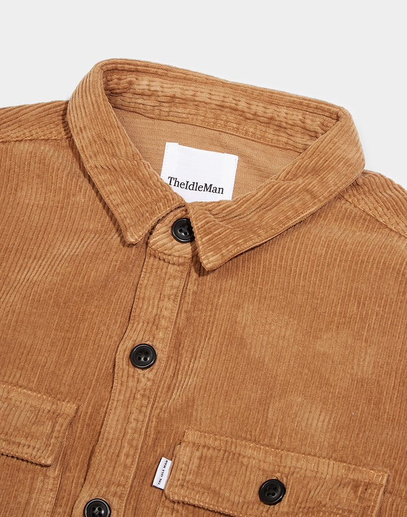 The Idle Man - Corduroy Pocket Overshirt Stone