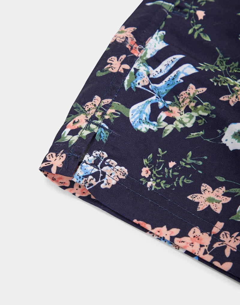 The Idle Man - Floral Print Swim Shorts