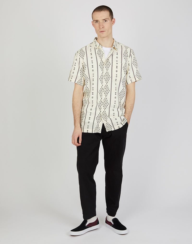 The Idle Man - Folk Printed Shirt Ivory