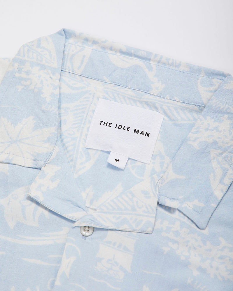 The Idle Man - Hawaiian Print Short Sleeve Shirt Blue