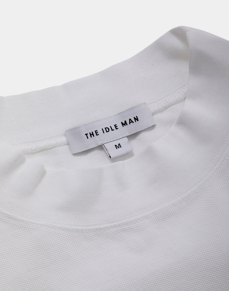 The Idle Man - High Neck Pique White