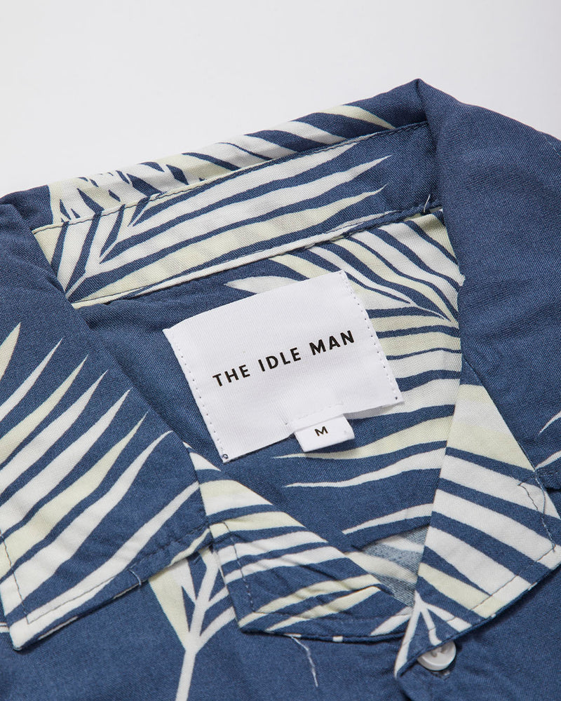 The Idle Man  - Leaf Print Revere Collar Shirt Grey