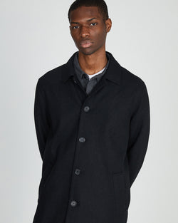 The Idle Man - Made in England Wool Car Coat Black