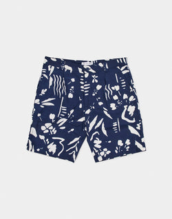 The Idle Man - Paint Strokes Printed Shorts Navy