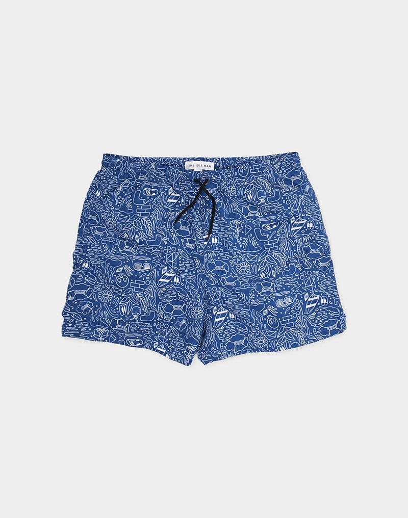 The Idle Man - Print Swim Blue