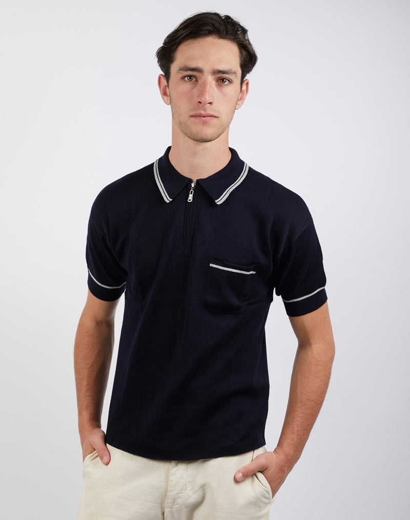 The Idle Man - Retro 1/4 Zip Knitted Polo Shirt Navy