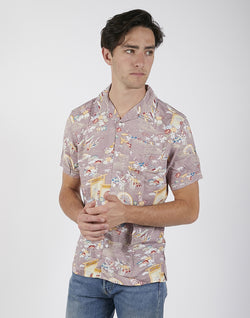 The Idle Man - Flower Print Revere Collar Shirt Pink