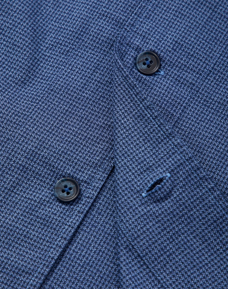 The Idle Man - Revere Collar Resort Overshirt Dogtooth Navy