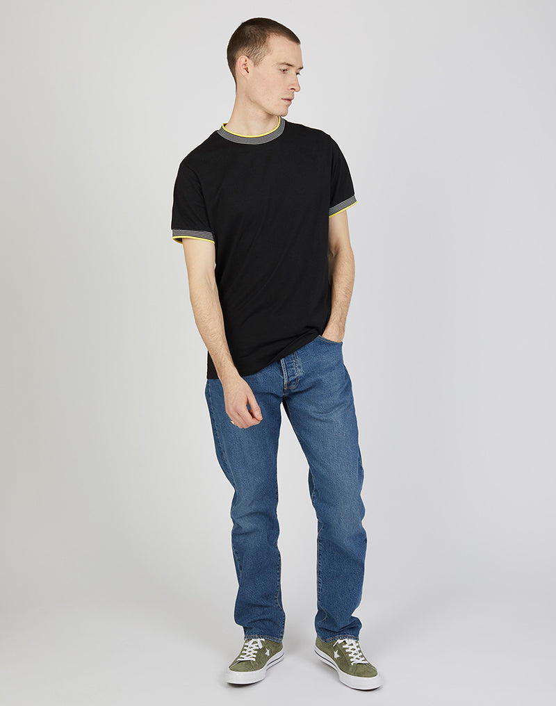 The Idle Man - Ringer Tee Black