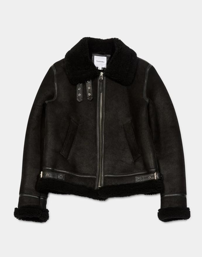 The Idle Man - Shearling Flight Jacket Black