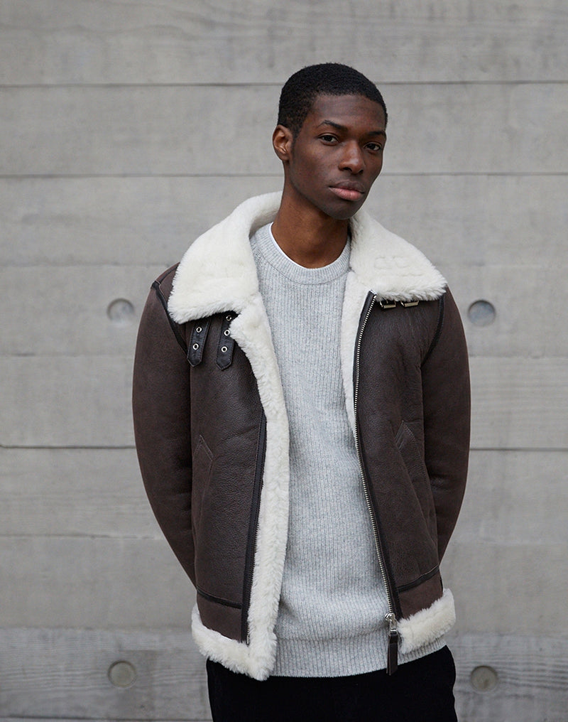 The Idle Man - Shearling Flight Jacket Brown