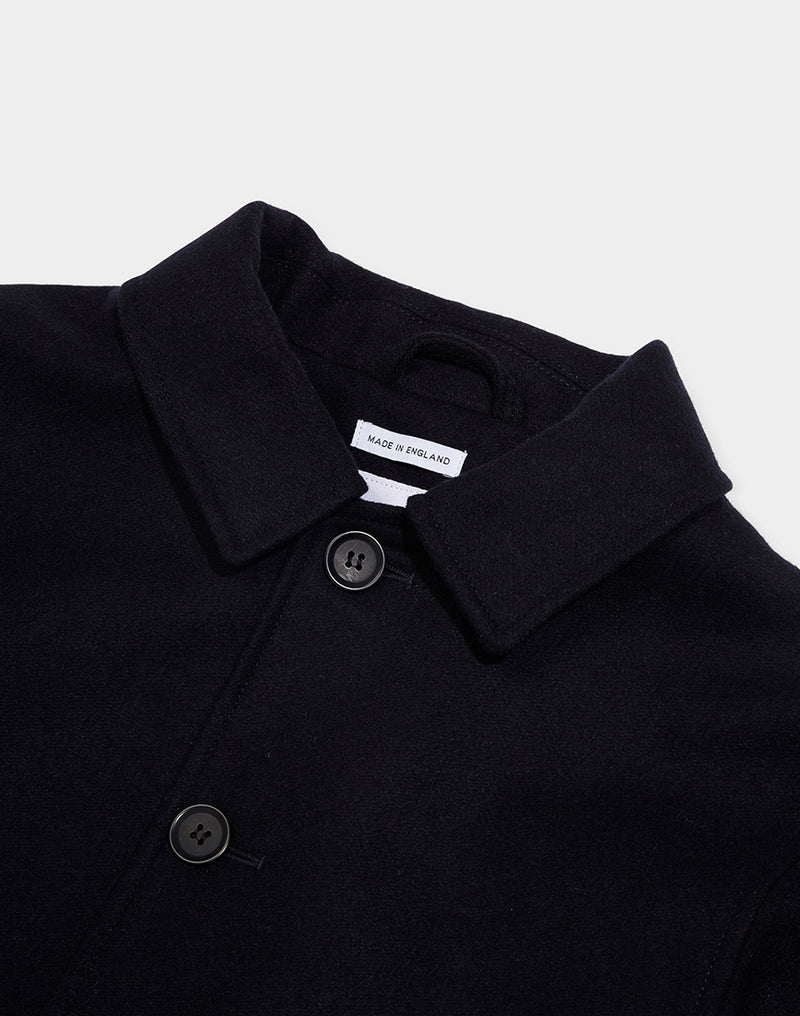 The Idle Man - Made in England Short Wool Car Coat Navy