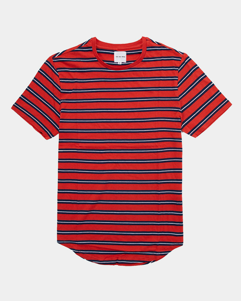 The Idle Man - Stripe Longline T-Shirt Red