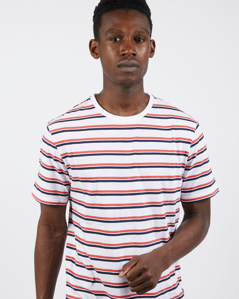 The Idle Man - Stripe Longline T-Shirt White